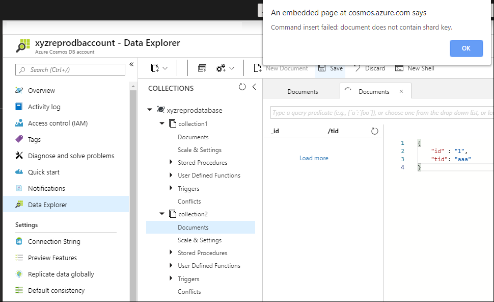 Azure DevOps: Cosmos DB MongoError document does not contain